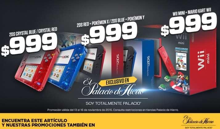 Promociones El Buen Fin 2015 Palacio de Hierro: Nintendo 2ds y wii mini $999