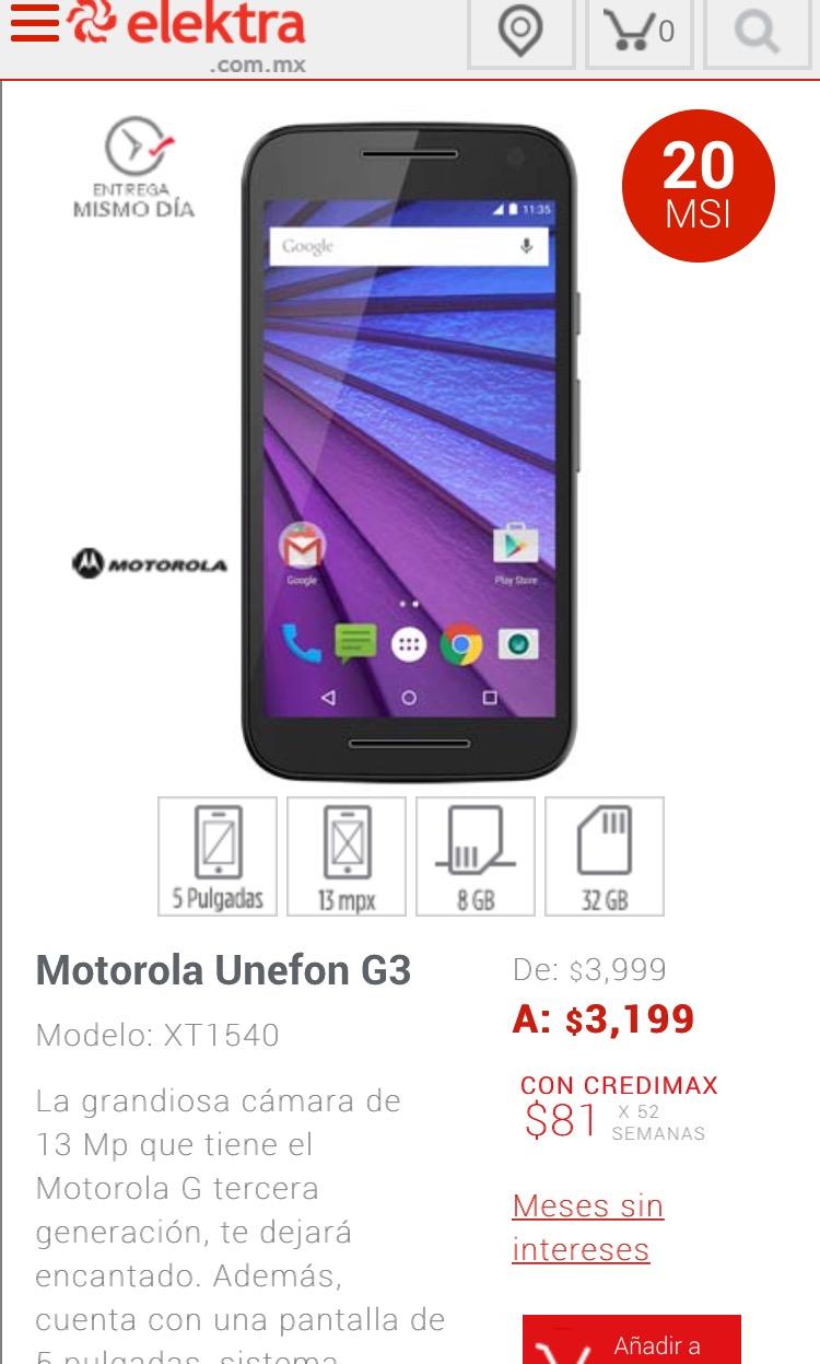Elektra: Moto G 3ra generación UNEFON