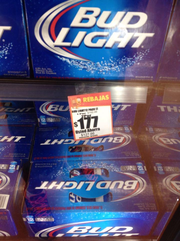 Walmart: 24 cervezas bud light por $177