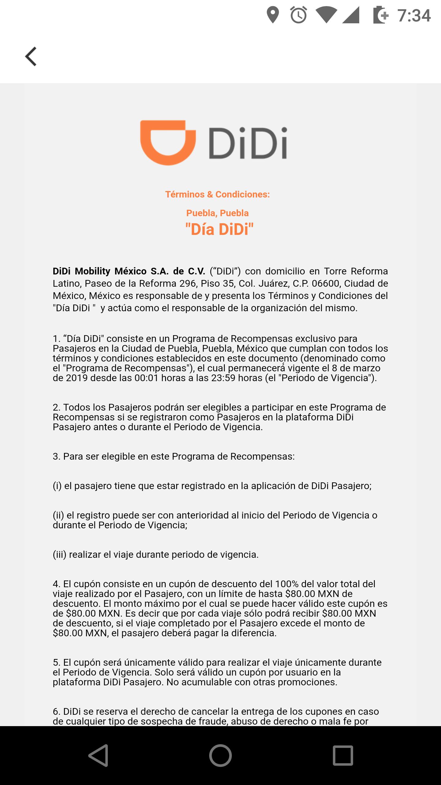 Didi Puebla: viaje gratis hasta $80 (Todos los usuarios en Puebla)