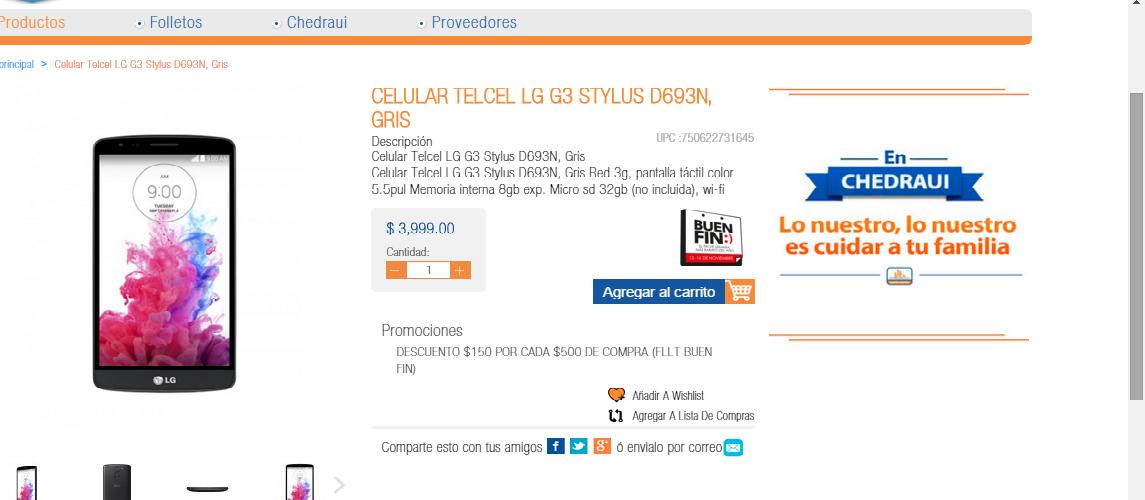 Chedraui Online: LG G3 Stylus Telcel a $2800