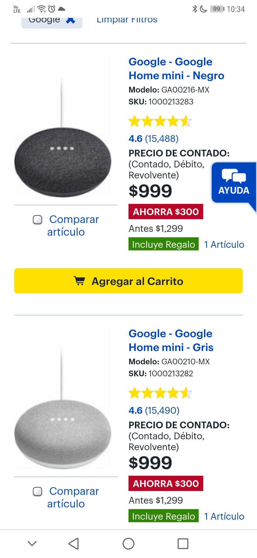 Best Buy: Google Home Mini con Tarjeta de regalo de $200