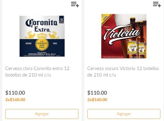 Superama: 2 docenas de cerveza Victoria o Coronitas 210ml x $160