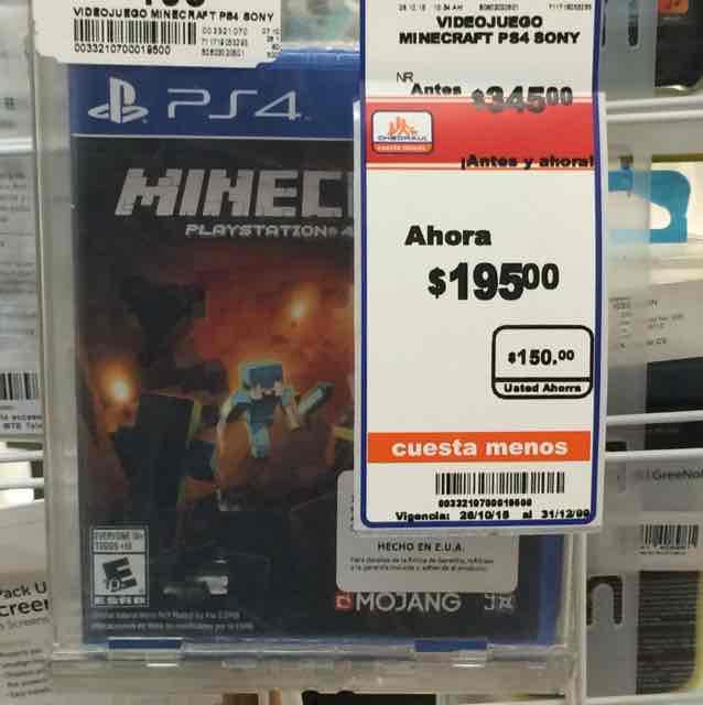 Chedraui: minecraft para playstation4 en $195
