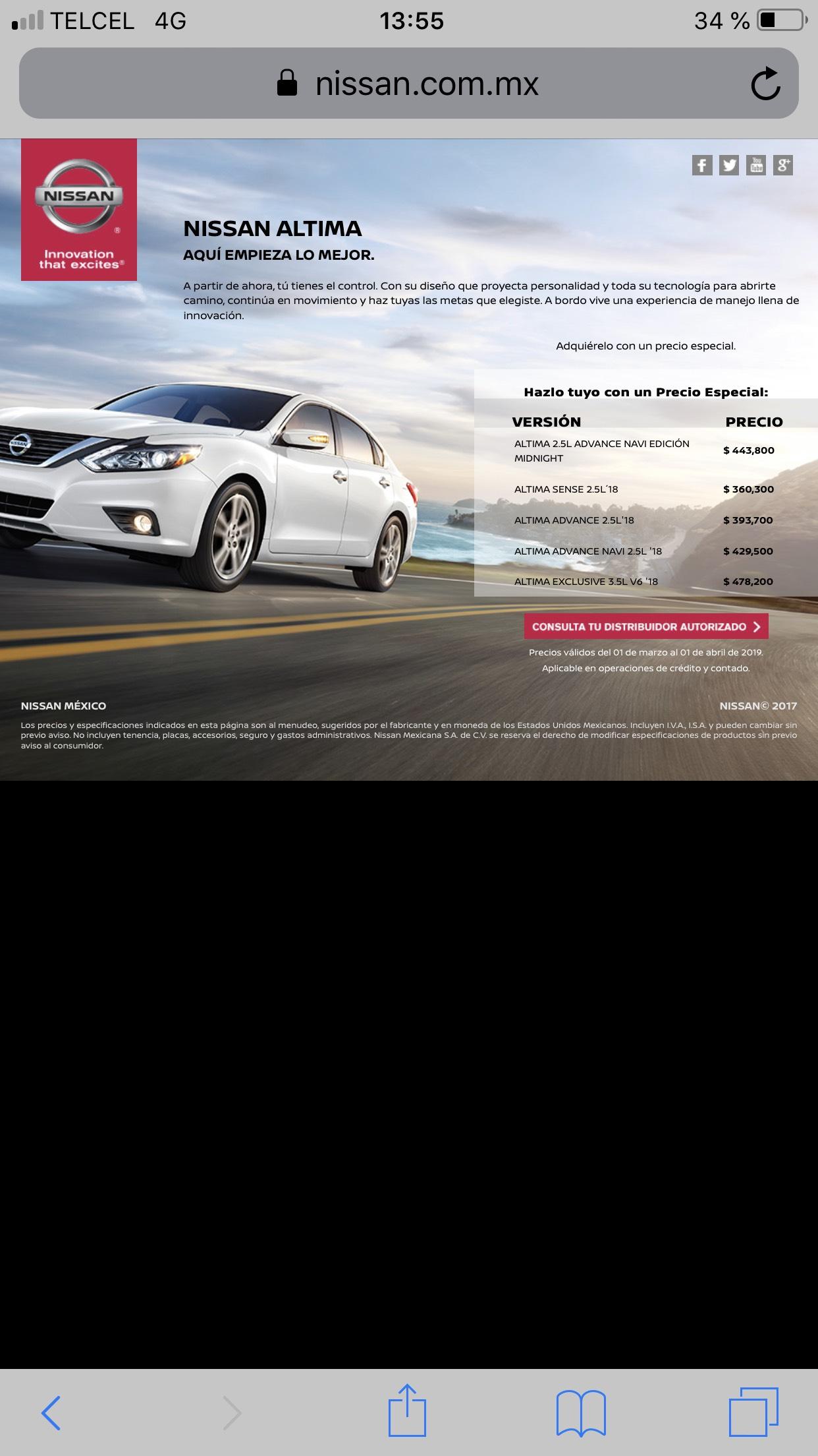 Nissan: Liquidación Nissan Altima modelo 2018 descuento de $58,000