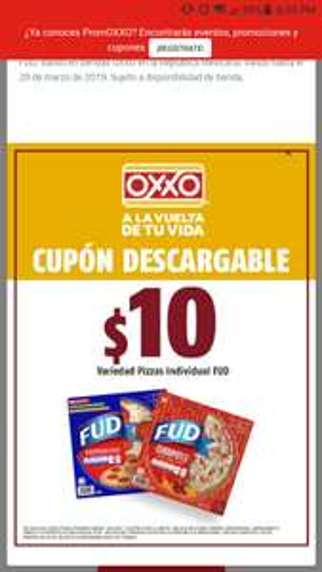 Oxxo: Pizzas Fud a tan solo $10 pesos