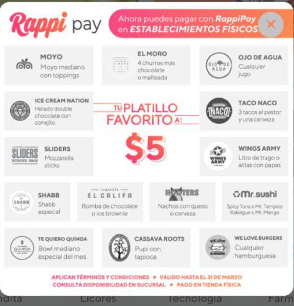 Rappi Platillos a sólo $5 pagando a través de Rappi Pay en tienda física.