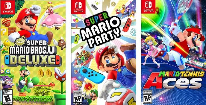 AmazonUSA: Juegos digitales de Mario para Nintendo Switch (New Super Mario Bros. U Deluxe, Mario Party, Tennis Aces, Mario Kart 8)