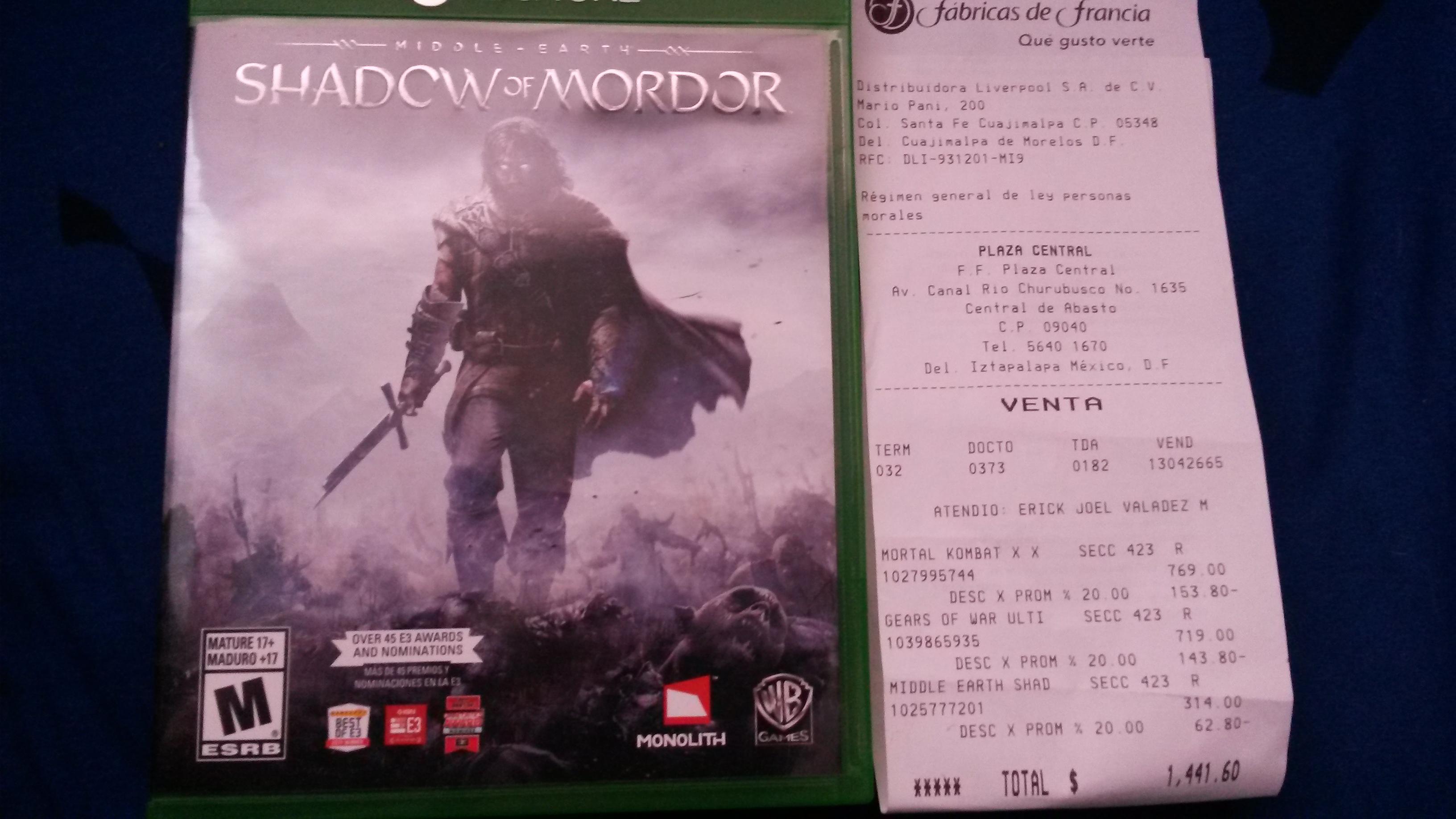 Fábricas de Francia (¿Livepool?): Shadow of mordor xbox one $251