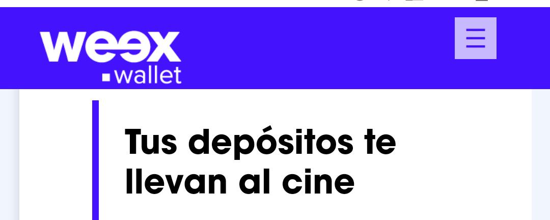 Weex Wallet: Tus depósitos te llevan al cine (Cinépolis). Depósita $100 = 1 boleto. Depósita $200 = 2 boletos