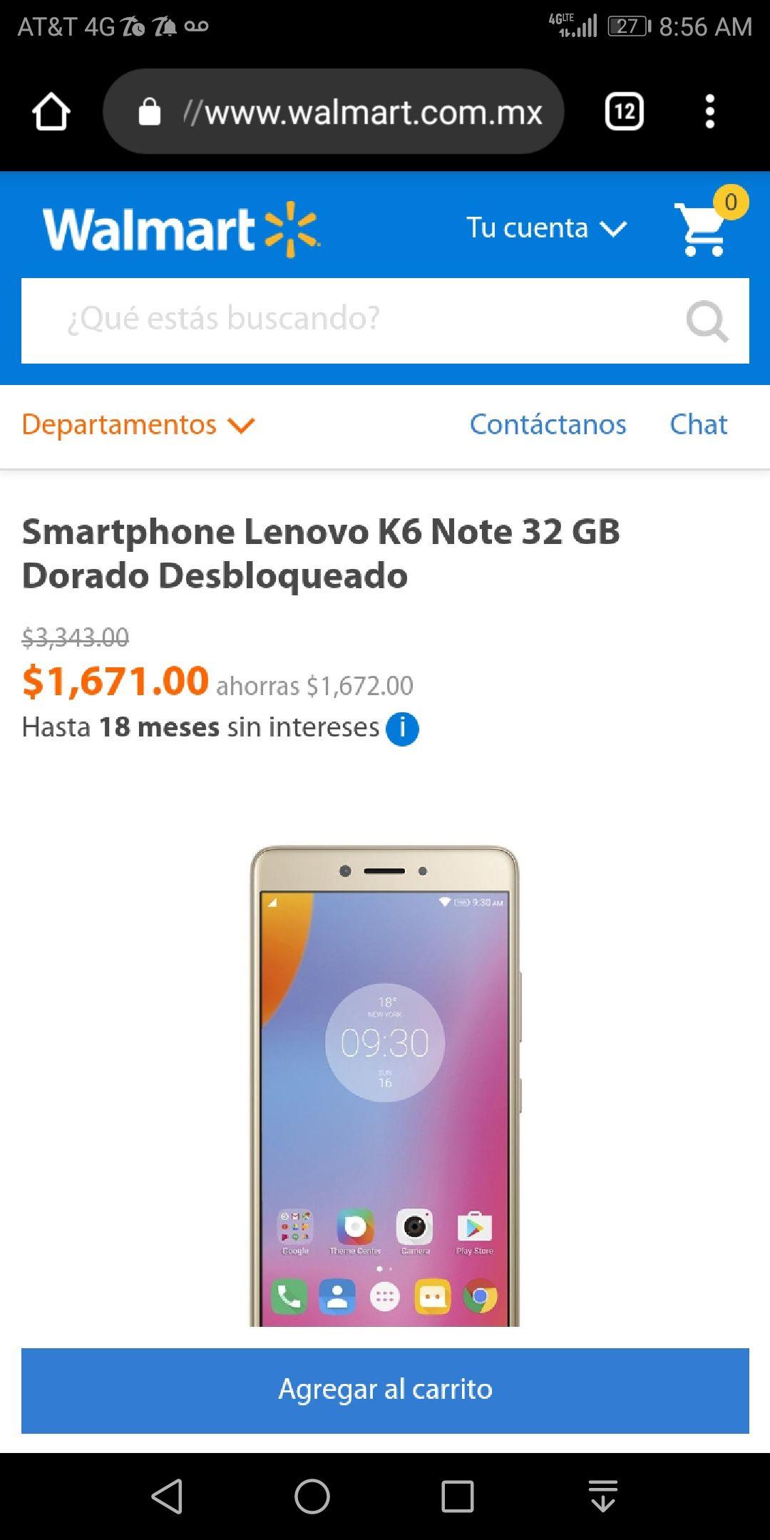 Walmart : Smartphone Lenovo k6 note 3 ram 32 gb int. Dorado desbloqueado