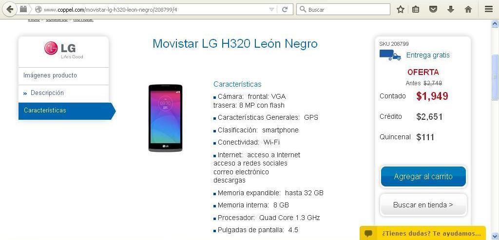 Coppel en linea: Movistar LG H320 León Negro