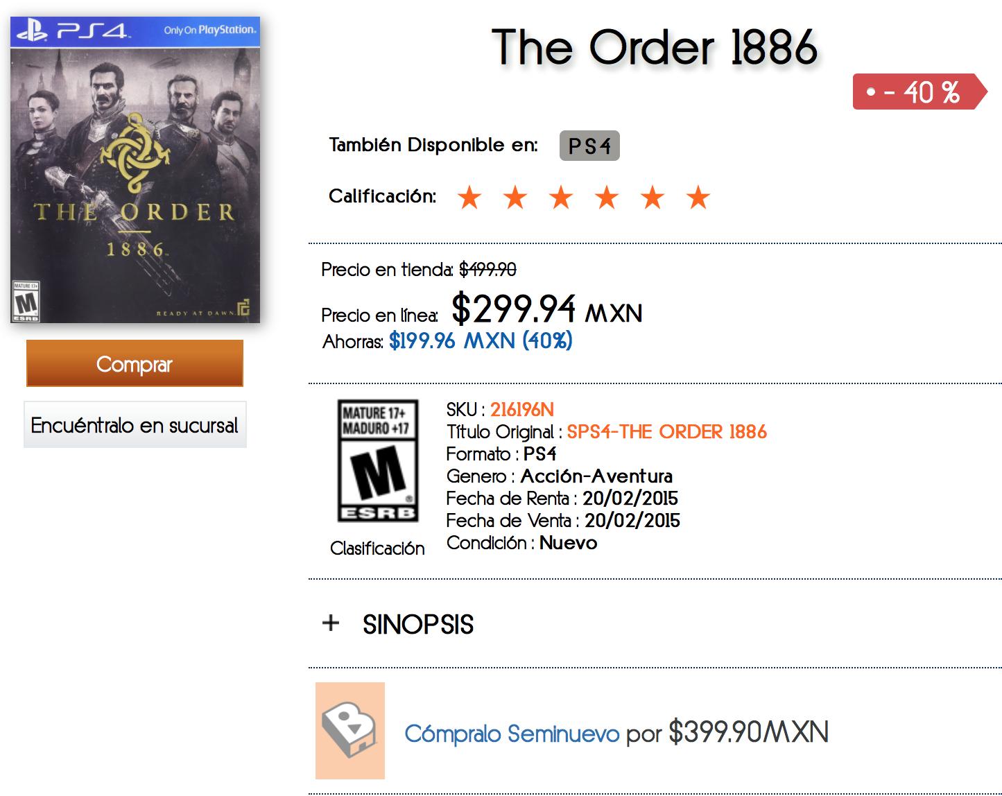 El Buen Fin en B Store (Antes Blockbuster): The Order 1886 PS4 a 299.92