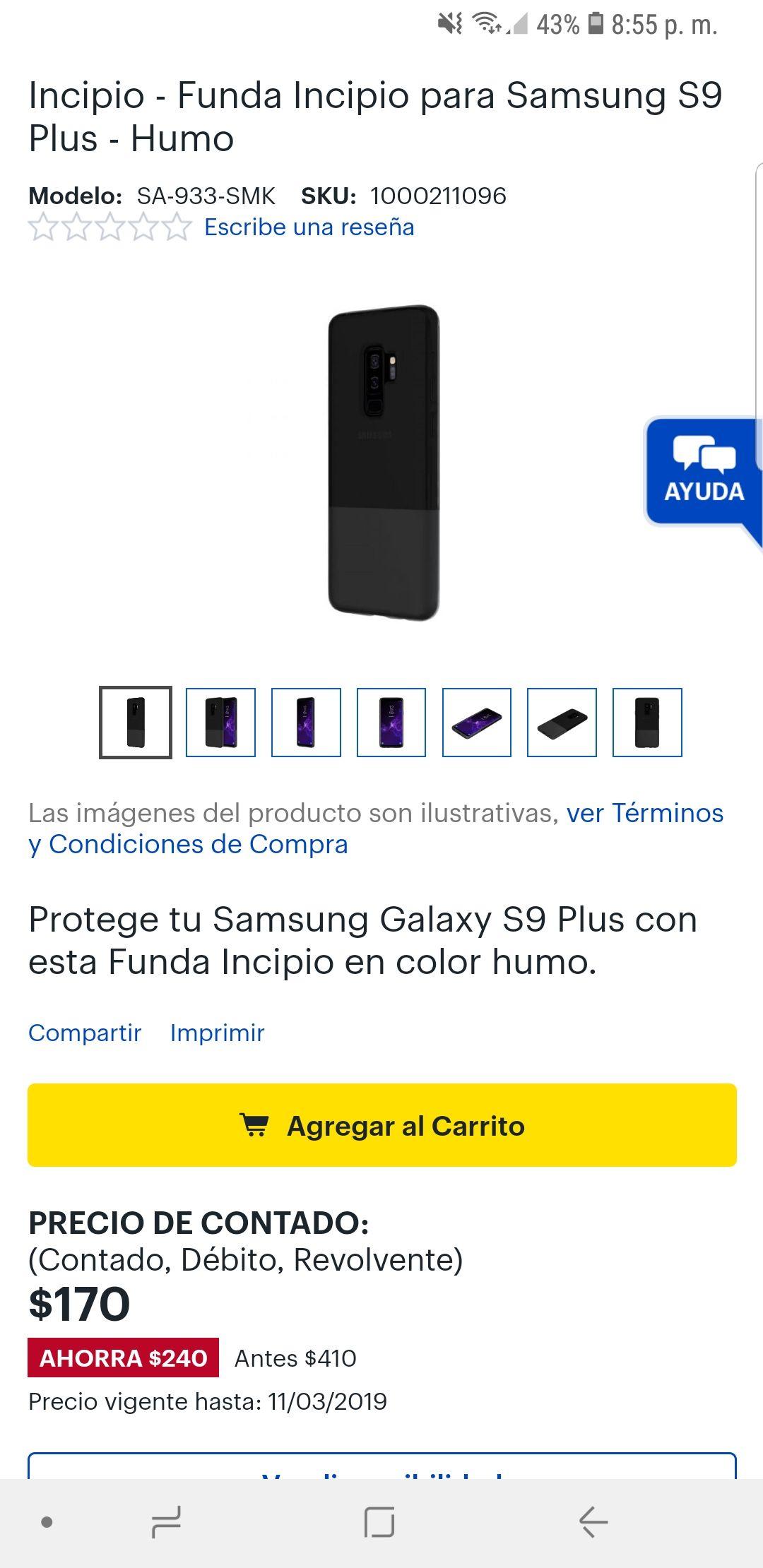 Best Buy en línea: Funda Incipio para Samsung S9 Plus color Humo