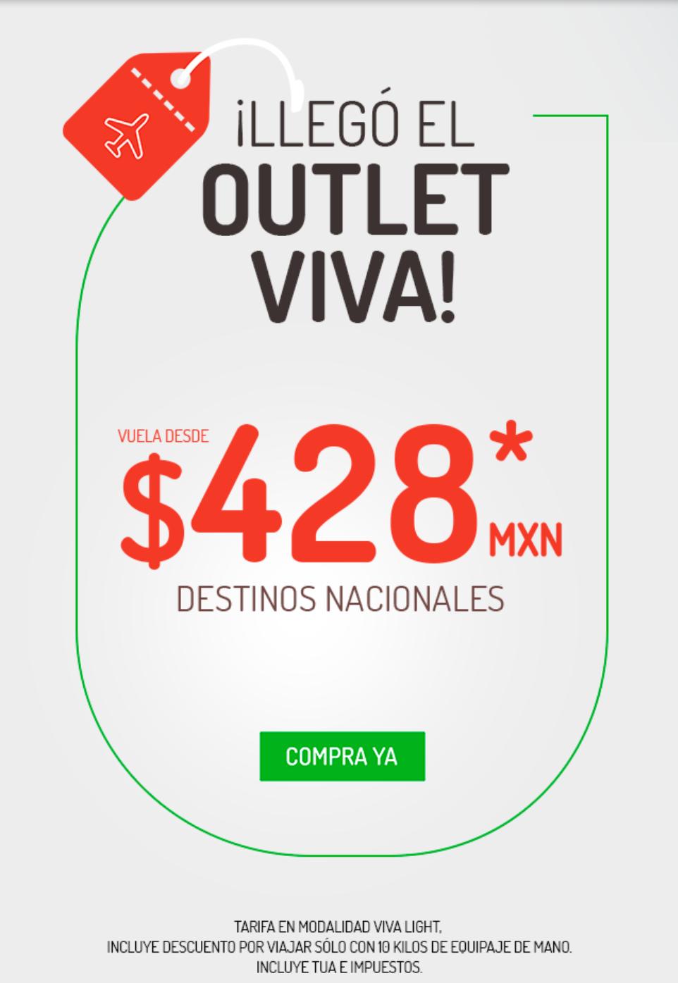 VivaAerobus: Outlet Viva: Vuelos nacionales sencillos de Marzo a Junio desde $428 en VivaLight comprando del Lunes 11 al Domingo 17 de Marzo