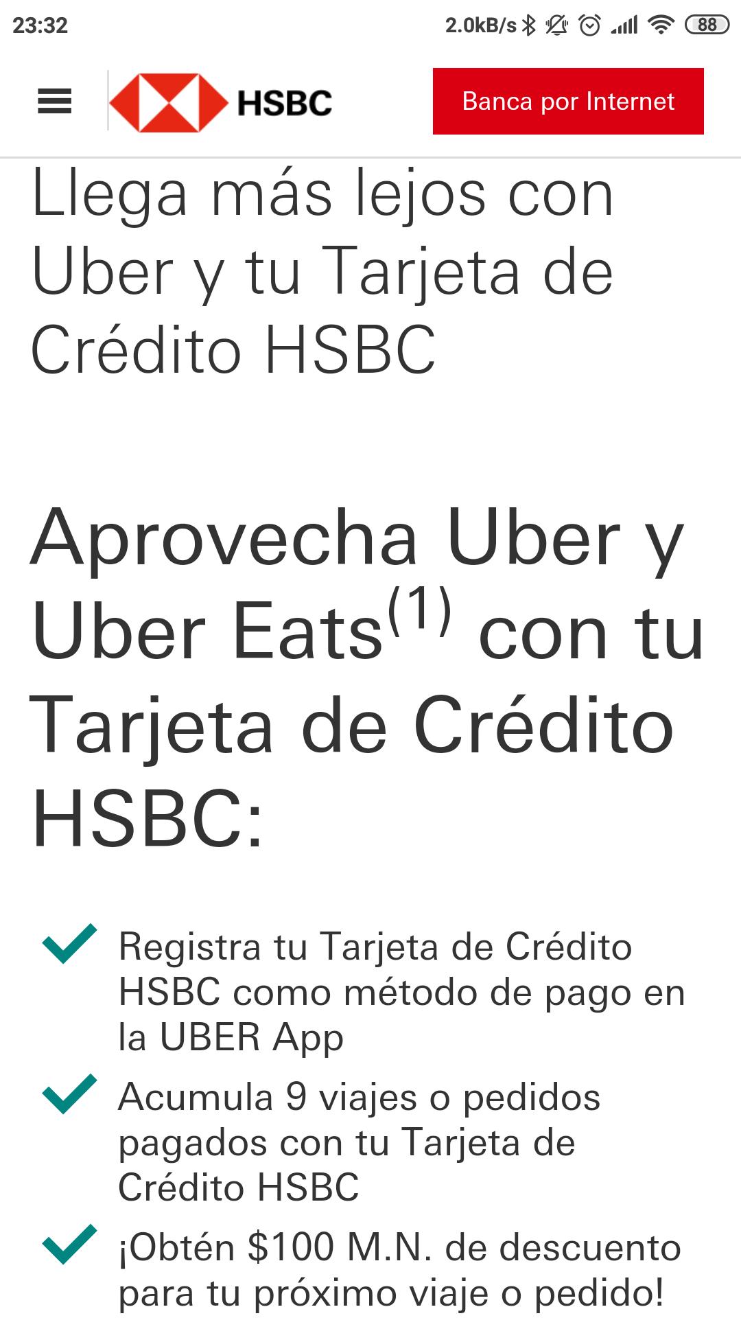 Uber y Uber Eats: Décimo viaje $100 de descuento pagando con HSBC