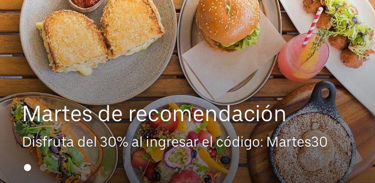 Uber Eats: 30% descuento