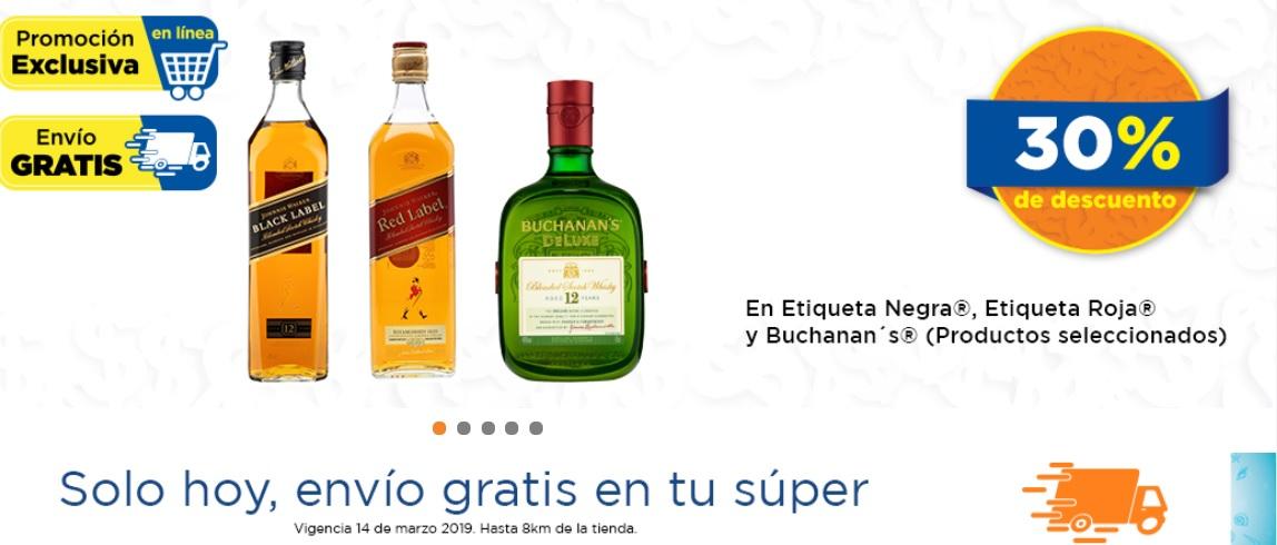 Chedraui: 30% desc Whiskys Buchanan's y Johnnie Walker seleccionados + envió gratis
