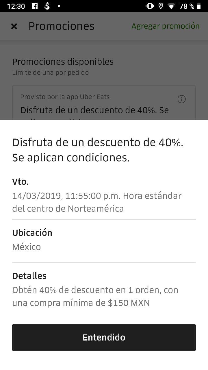 Uber Eats: descuento 40%