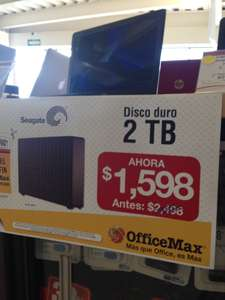 Office Max: Disco Duro externo de $ 2498 en $ 1598.