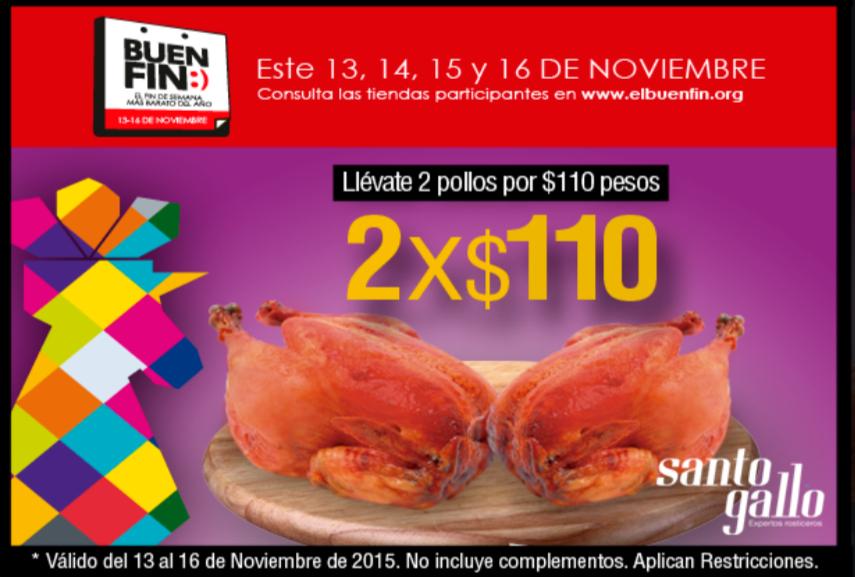 Promociones del Buen Fin: Pollos 2x$110 pesos en la Rosticería Santo Gallo