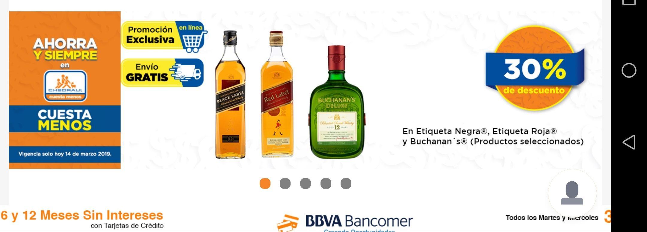 Chedrahui en línea: 30% de descuento en Whisky etiqueta roja, negra y Buchanan's y envío gratis