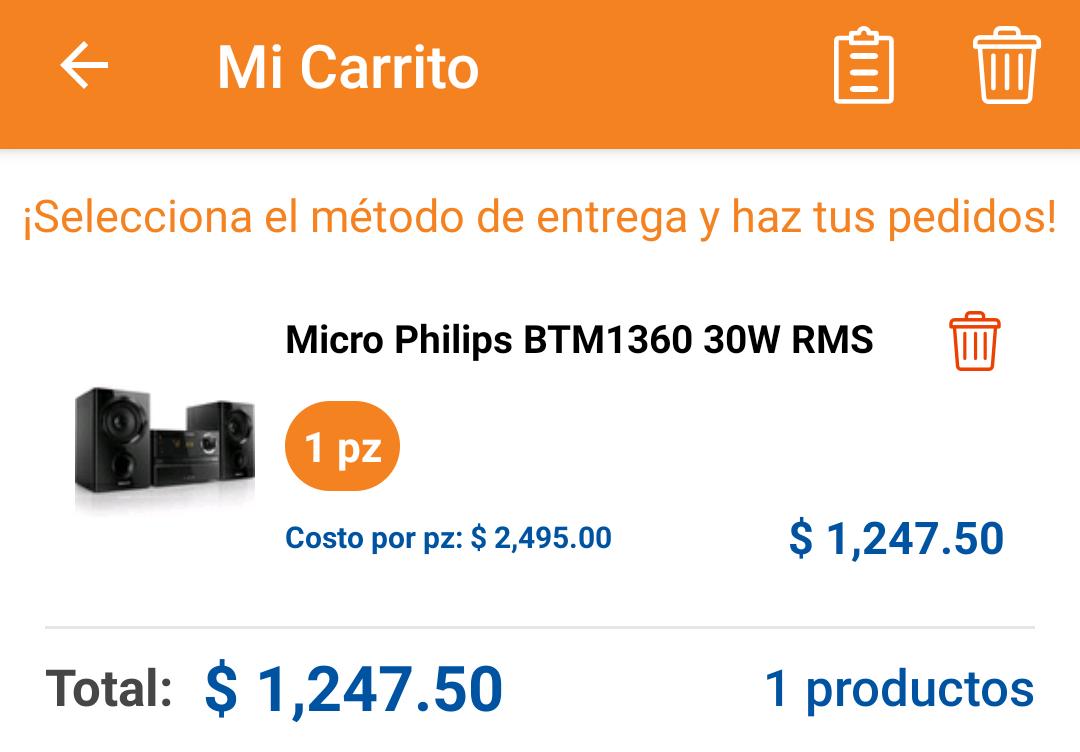 Chedraui: Microcomponente Philips de $2,495 a $1247.50