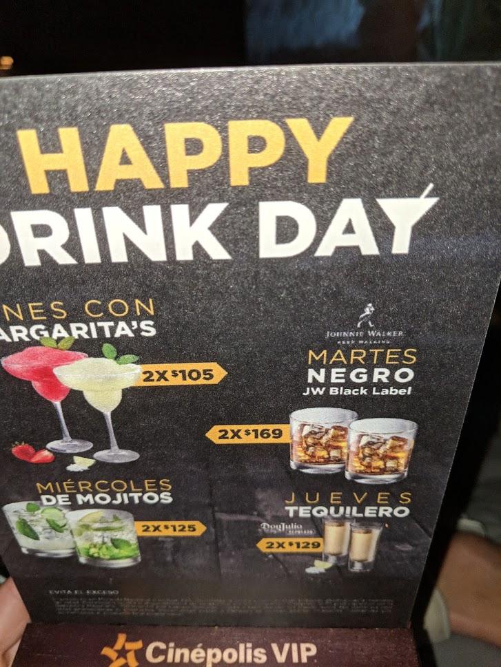 Cinépolis VIP: ofertas en alcohol de lunes a jueves
