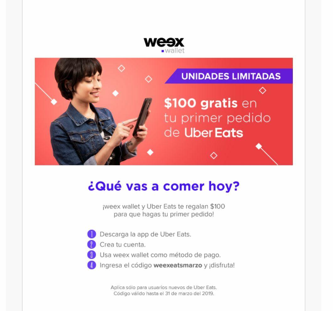 Weex Wallet: ¡$100 gratis para Uber Eats! (nuevos usuarios)