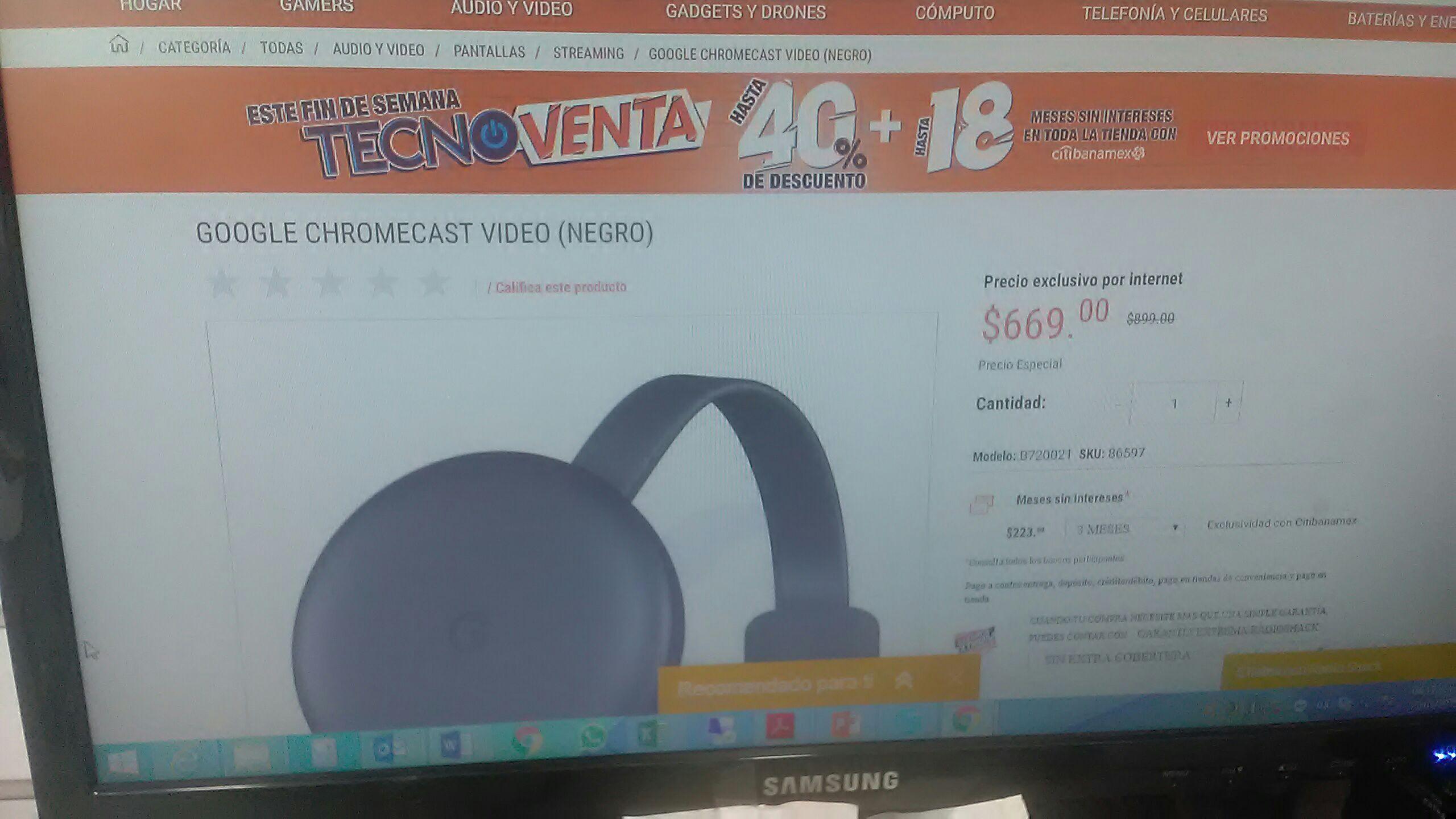 Radioshack: Chromecast 3ra generación 669.00 y 2da generación 499.00
