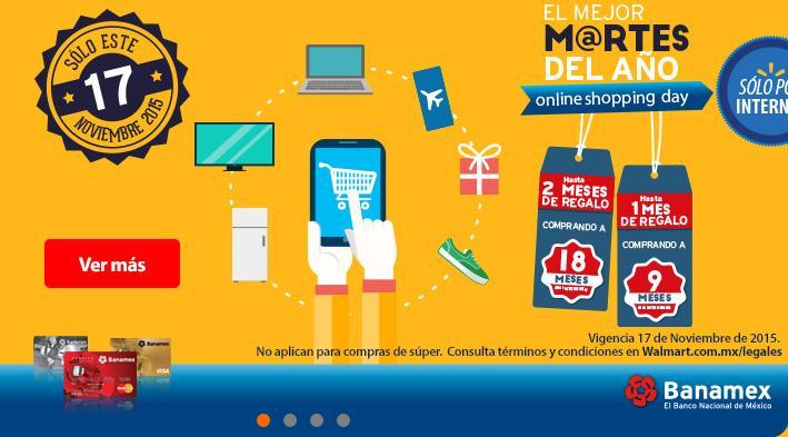 Walmart Online: Sólo HOY 18 MSI + 3 Bonificación con Banamex + Envío Gratis
