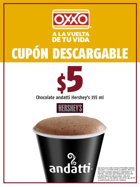 OXXO: Cupon chocolate andatti Hersheys 355ml a 5 pesos