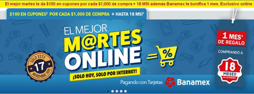 Best Buy Online: Sólo HOY $100 en cupones por cada $1000 + 1 mes bonificación Banamex + 18 MSI + Envío Gratis