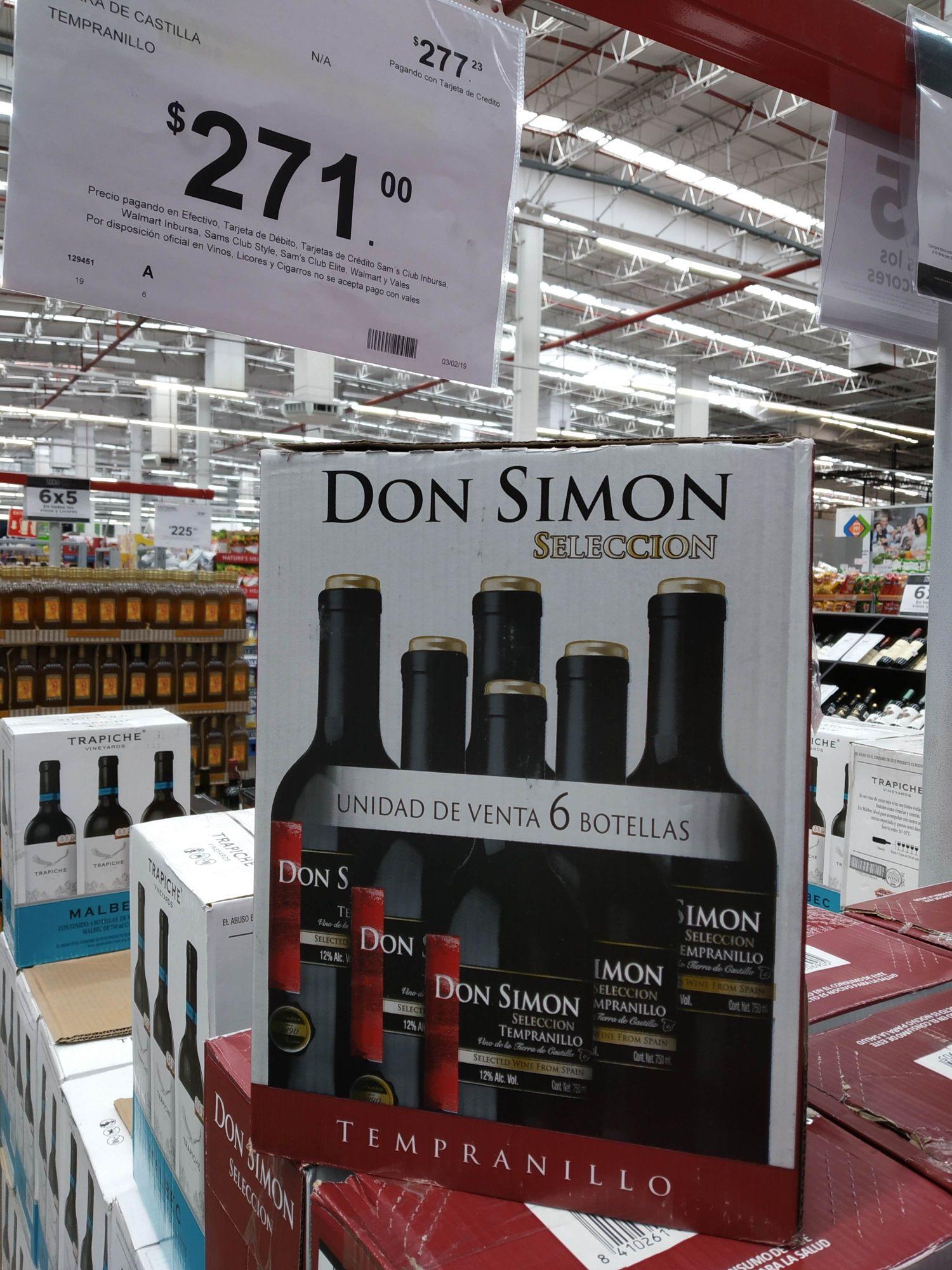 Sam's club: 6 botellas de vino tinto 750ml Don Simon selección tempranillo