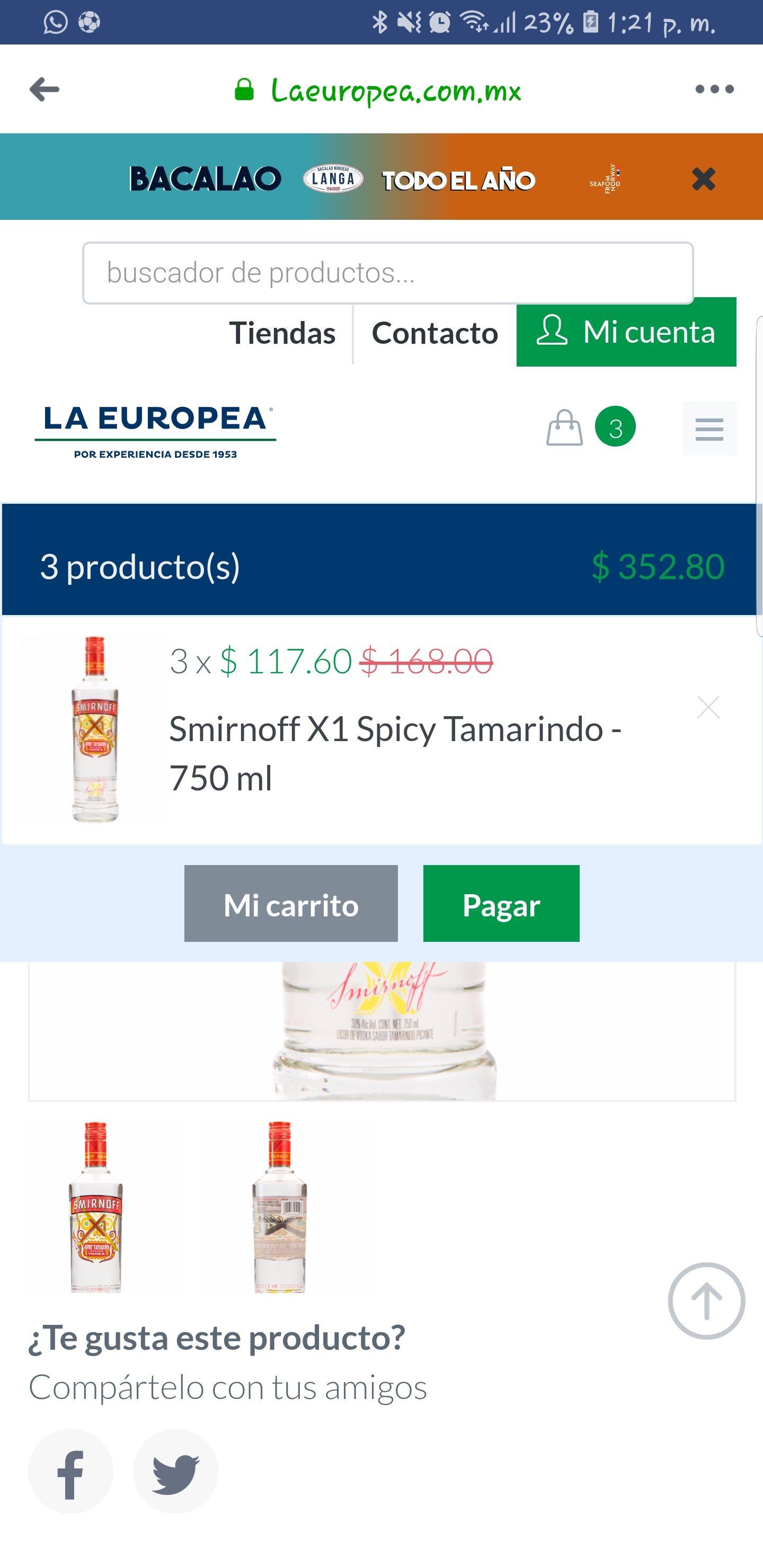 La Europea: Smirnoff de Tamarindo 750ml