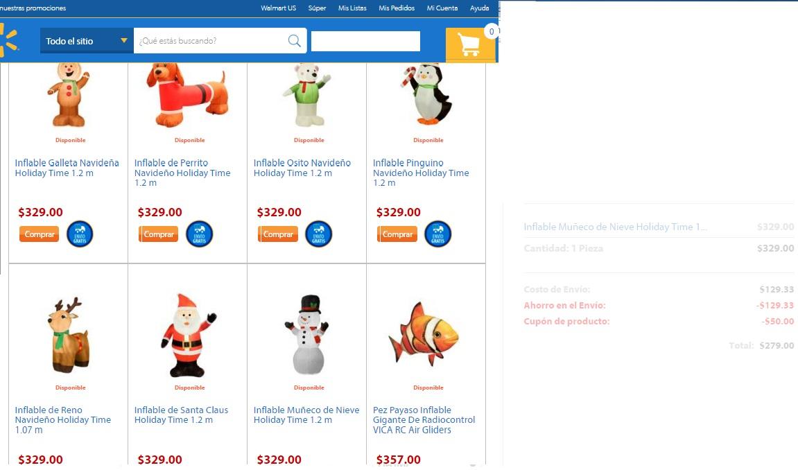 Walmart: Inflables navideños a $279.00 aplicando el cupon de $50.00 de registro