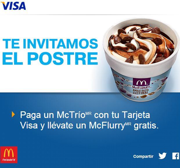 McDonald's: McFlurry gratis pagando McTrío con Visa