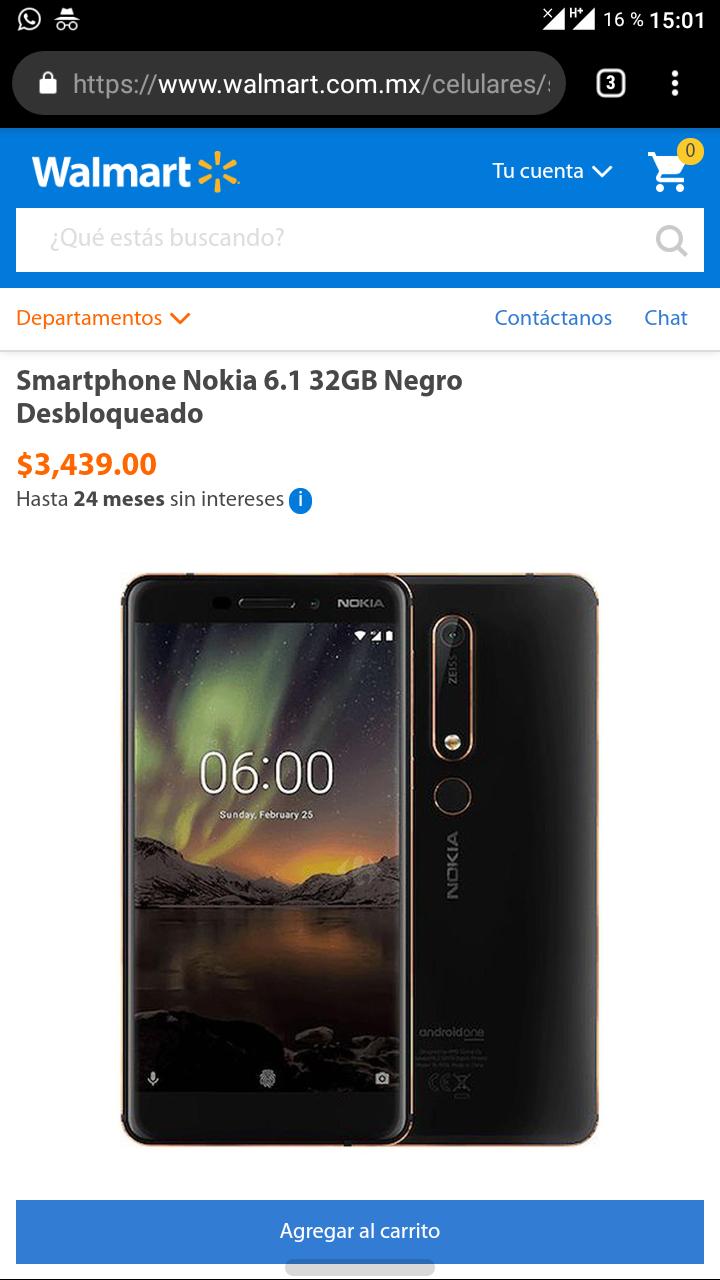Walmart en línea: Nokia 6.1 32/3 GB desbloqueado