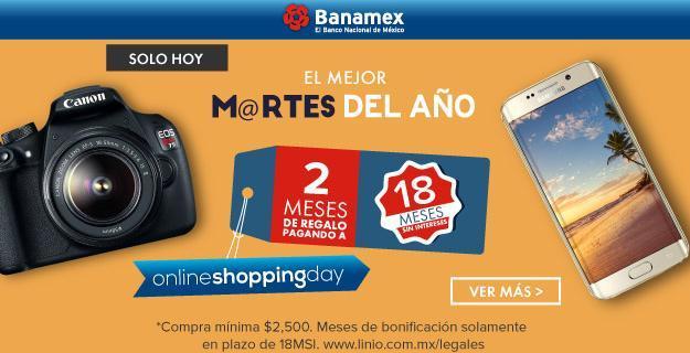 Linio: Solo HOY 2 meses de bonificación Banamex en compras a 18 MSI