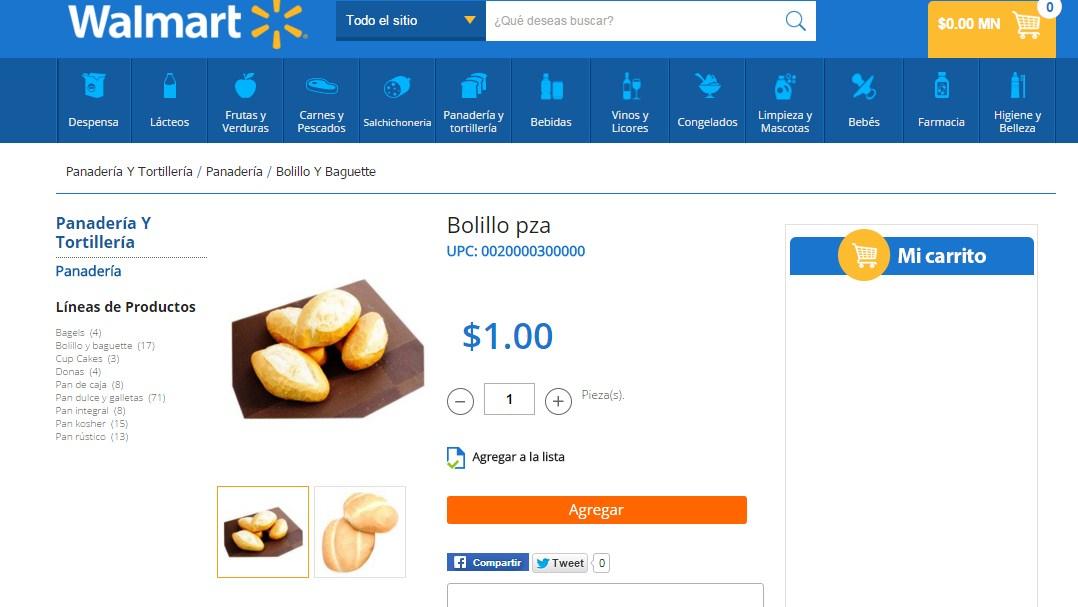 Walmart Bolillo $1 peso la pieza tienda física y online