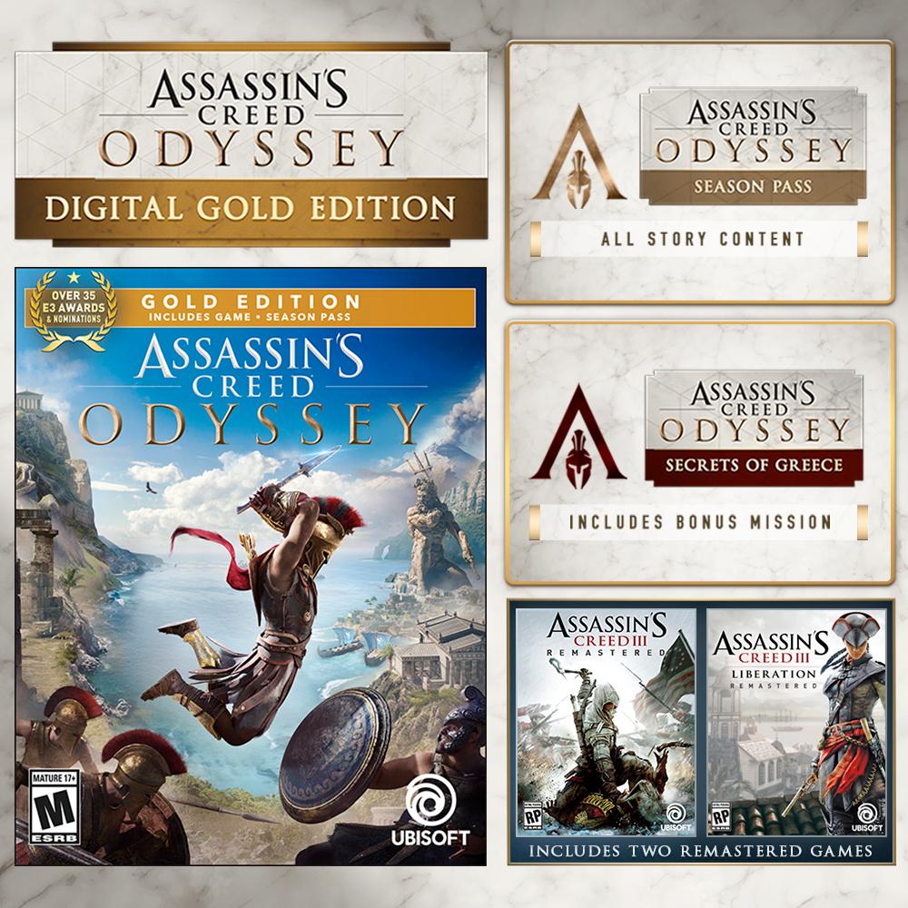 Ubisoft Store: AC Oddisey Gold Edition + AC 3 y Liberation Remasterizados