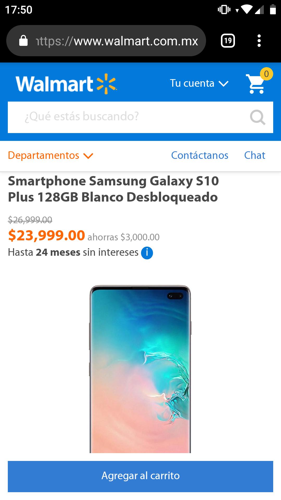 Walmart en linea: Samsung Galaxy S10 Plus 128GB Blanco Desbloqueado