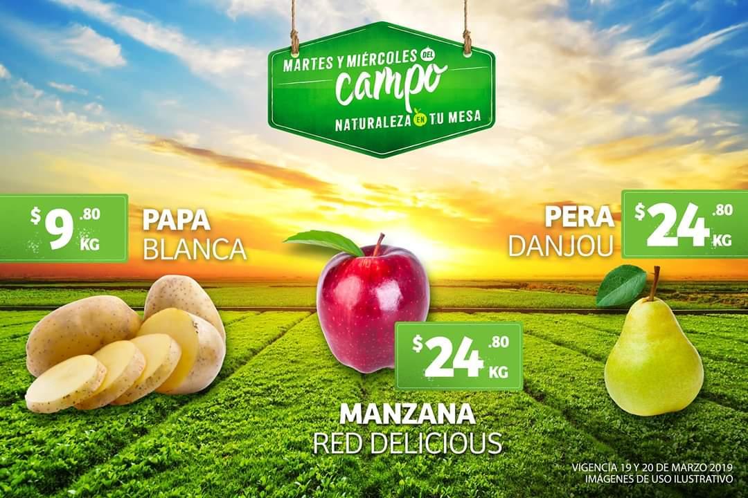 Soriana Híper y MEGA: Martes y Miércoles del Campo 19 y 20 Marzo: Papa $9.80 kg... Pera D' Anjou ó Manzana Red $24.80 kg.