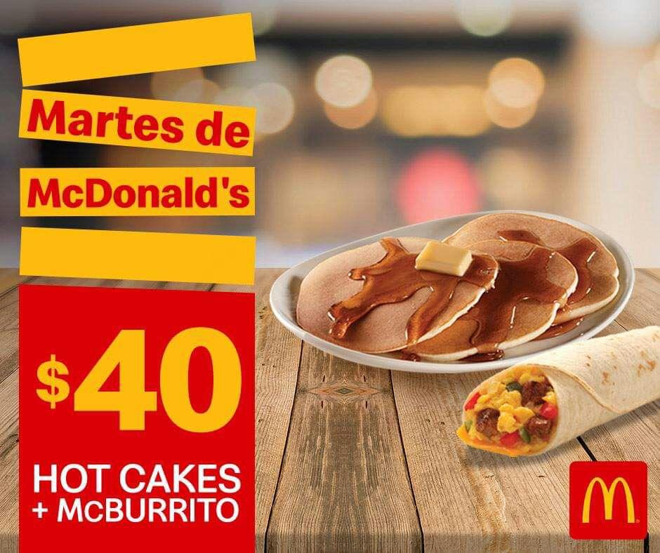 McDonald's: Martes de McDonald's 19 Marzo: Hot Cakes + McBurrito $40