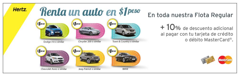 Hertz : 1 peso renta de autos.