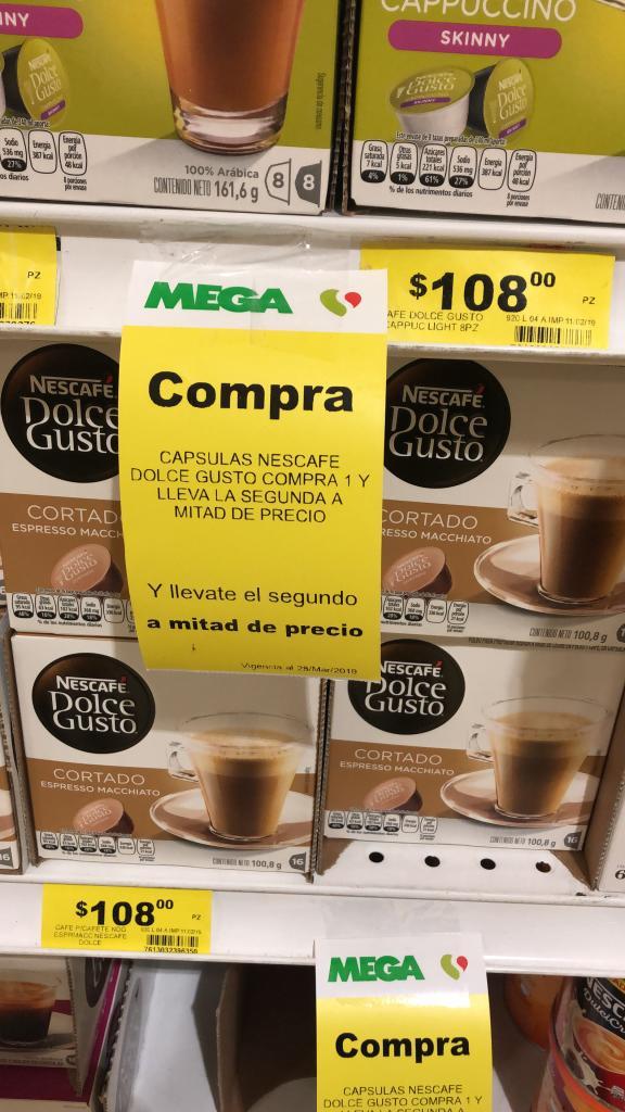 Mega Soriana: Cápsulas Dolce Gusto. Compra 1 y paga el segundo al 50%