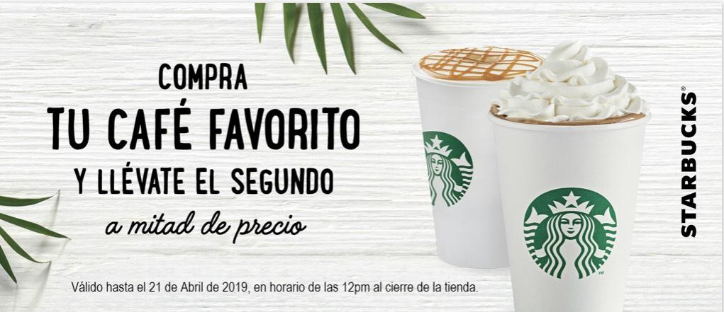 Starbucks: 2 x 1 y 1/2 en cualquier bebida de Lunes a Viernes