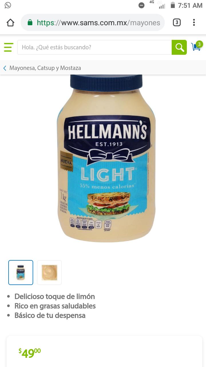 Sam's Club: Mayonesa Hellmann's Light de 1 kg