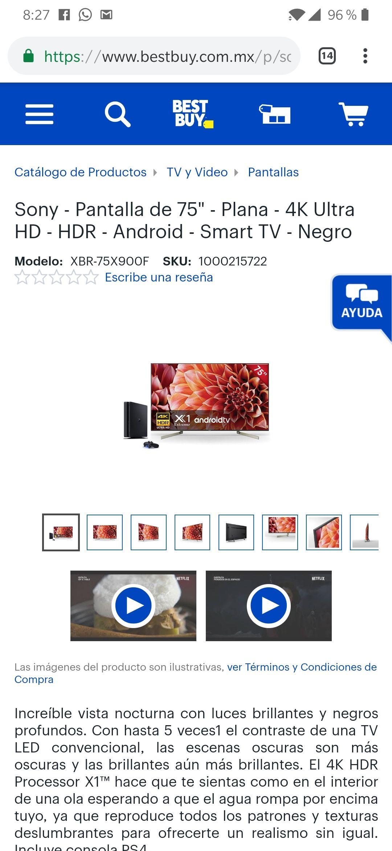 "Best Buy: Pantalla Sony 75"" XBR-75X900F Con ps4"