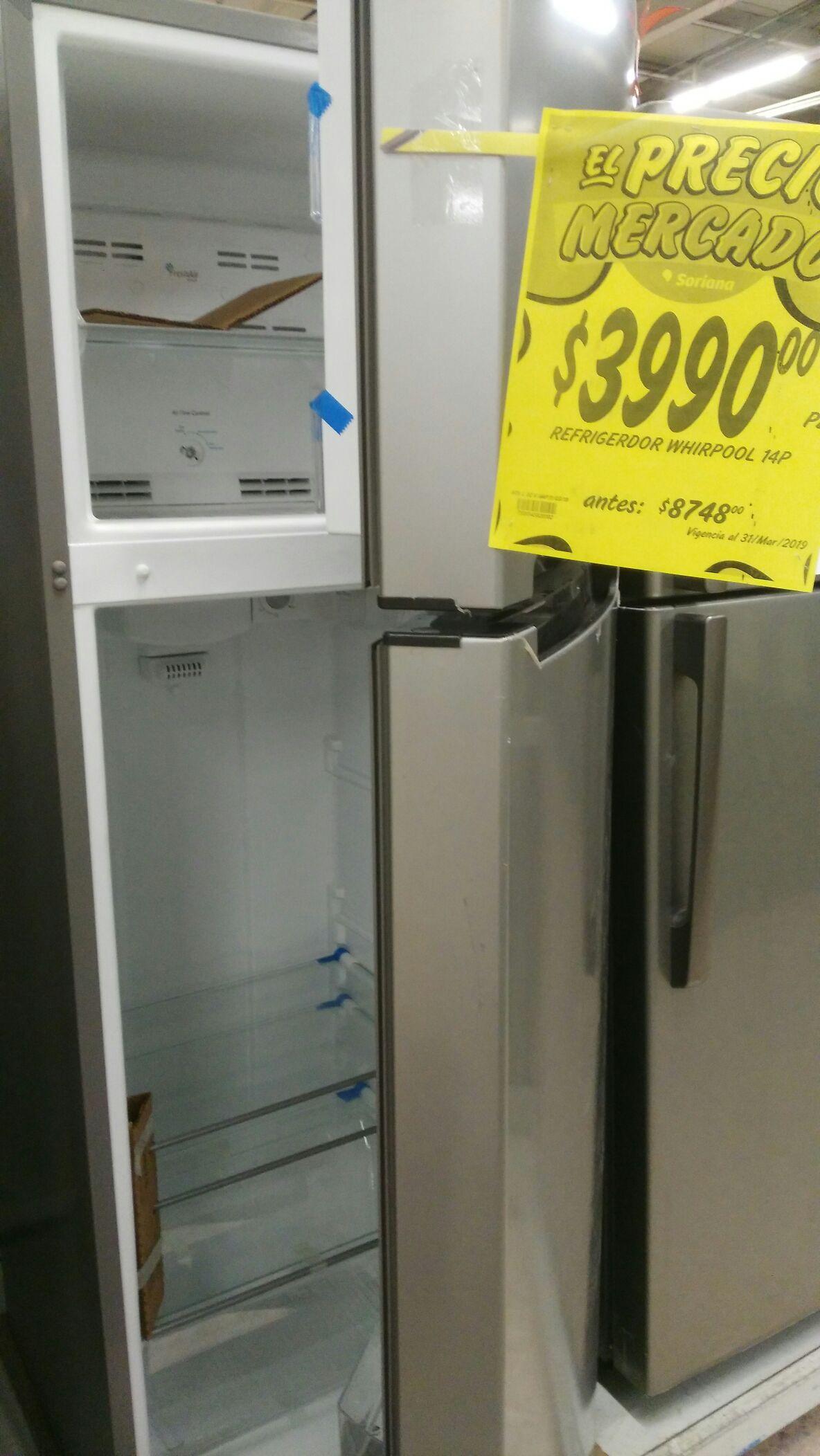 Soriana mercado: refrigerador Whirpool 14 p